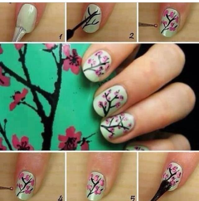 Цветы на ногтях в домашних условиях пошагово