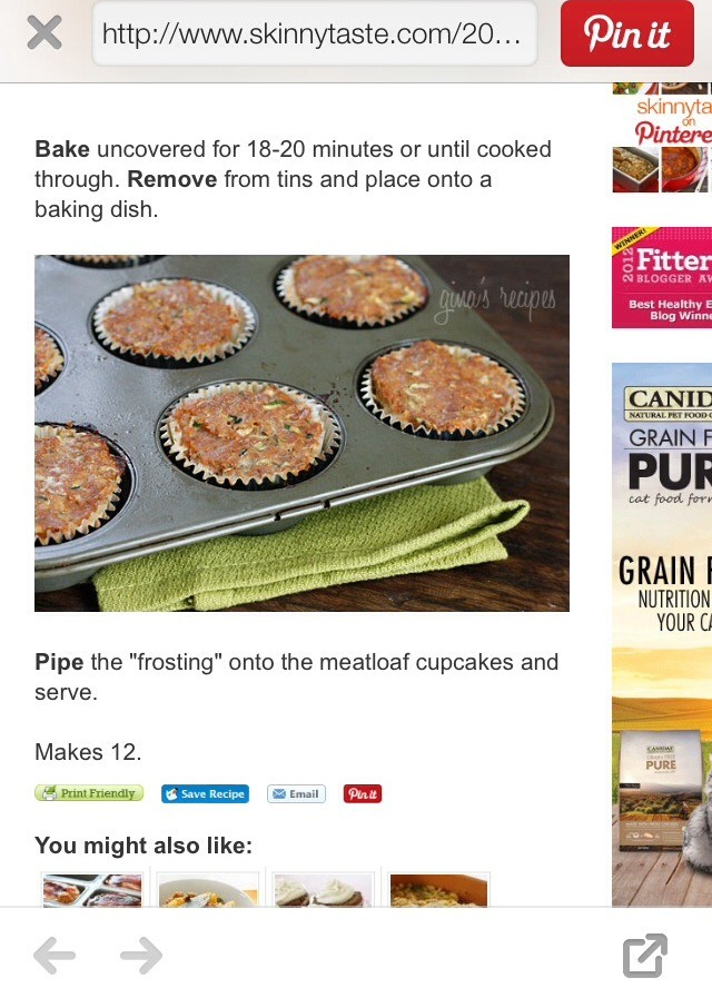 """Skinny Meatloaf Cupcakes With Mashed Potato """"frosting"""" 👌 Yum ..."""