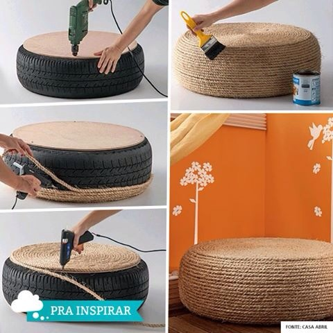 Make a sweet chair foot rest or table out of a tire