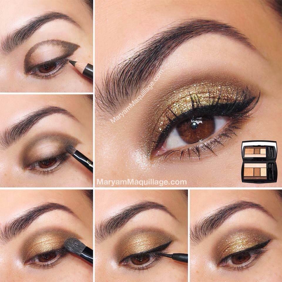 Как сделать макияж золотыми тенями