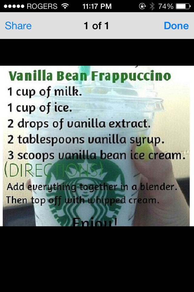 how to make a vanilla bean frappuccino at home