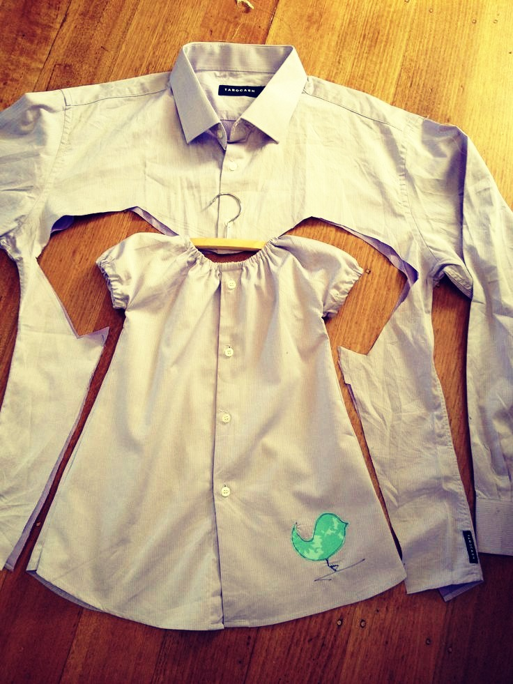 Cutest idea ever make a dress for your baby from a men 39 s for Make a dress shirt