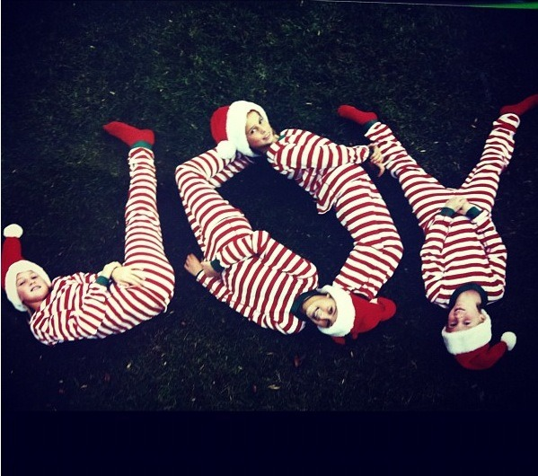 My sisters and I spelling JOY!