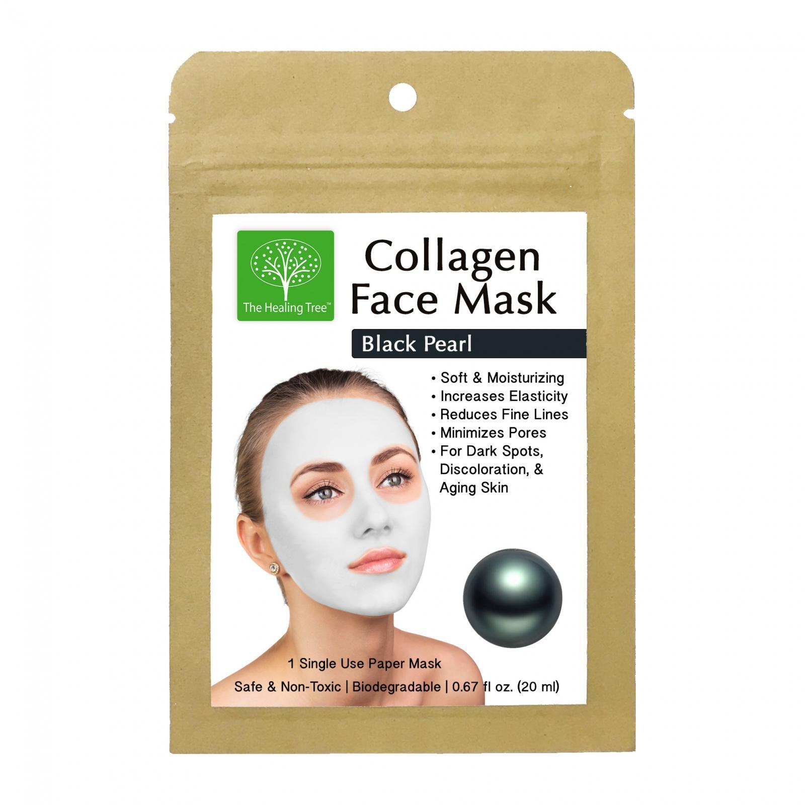 Black Pearl Collagen Face Mask for Dark Spots & Discoloration (Single, 3-Pack, 6-Pack)