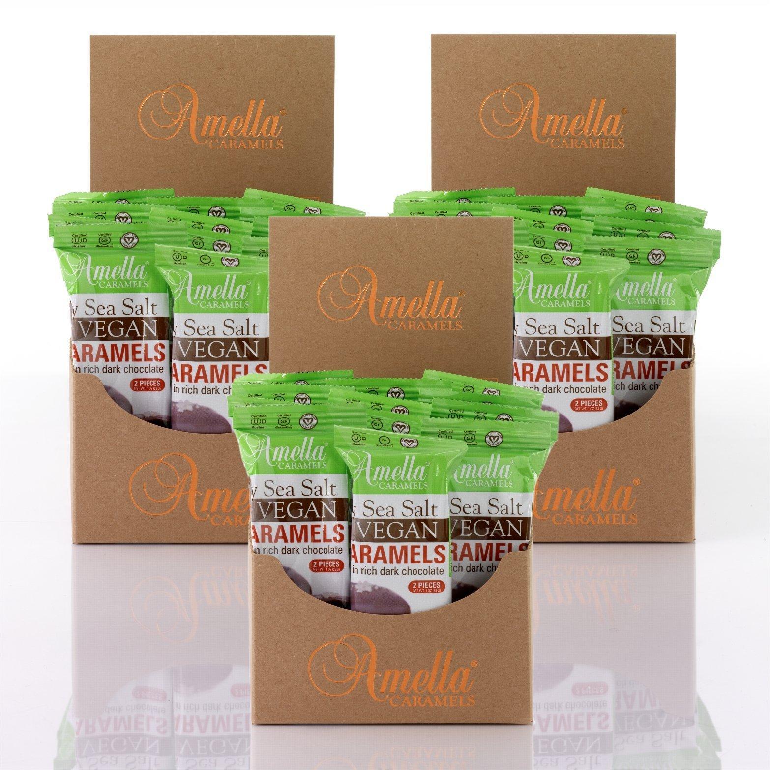 Vegan Gray Salt Caramels in 72% Dark Chocolate, 45.0 ounces (45 packs - 2 pcs/pack)
