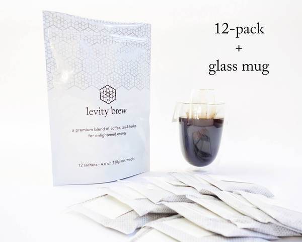 levity brew 12-pack + glass mug gift set