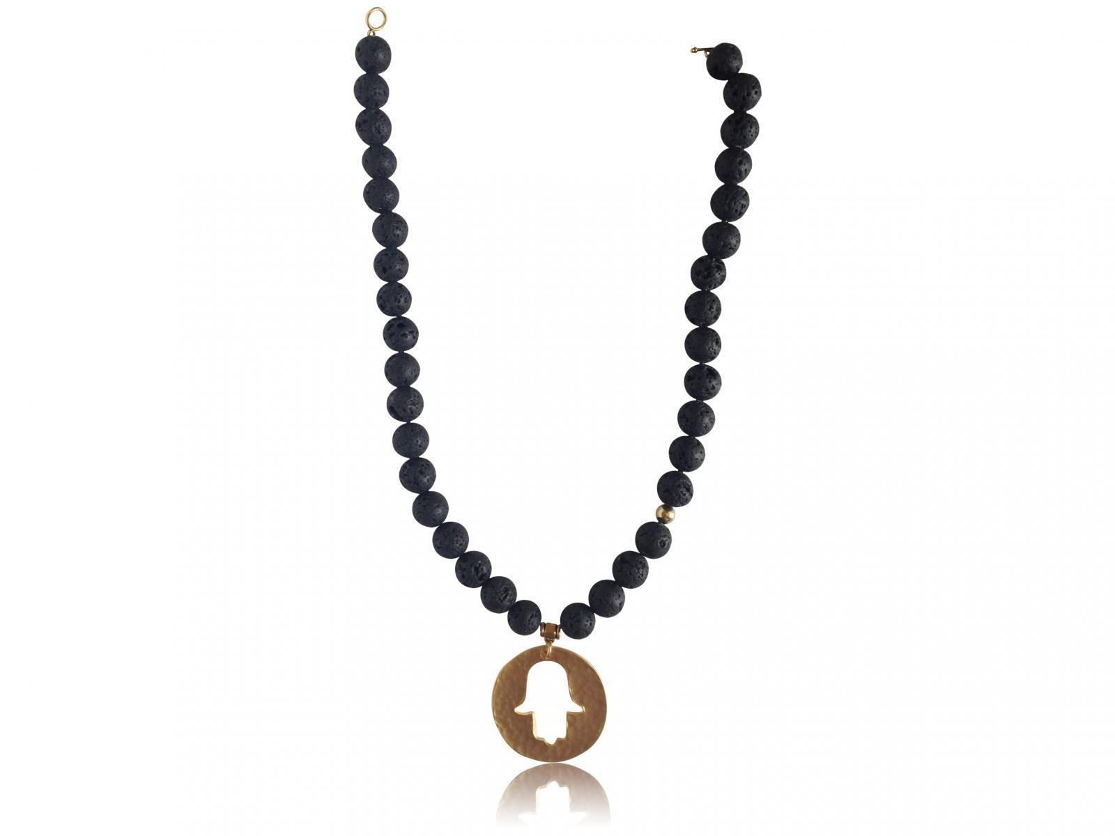 Black Lava Stone Hamsa Pendant Aromatherapy Necklace