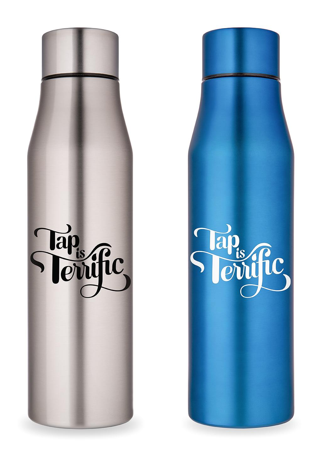 Tap Is Terrific Reusable Stainless Steel Water Bottle By Faucet Face