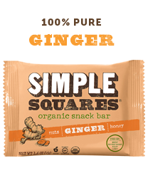 Ginger SIMPLE Squares - Organic Nutrition Bar - Box of 12 bars