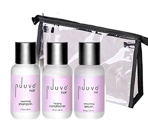 Nuuvo Haircare Salon Professional Travel Size Favs -  Nourishing Shampoo, Healing Conditioner + Smoothing Serum 2 Ounce