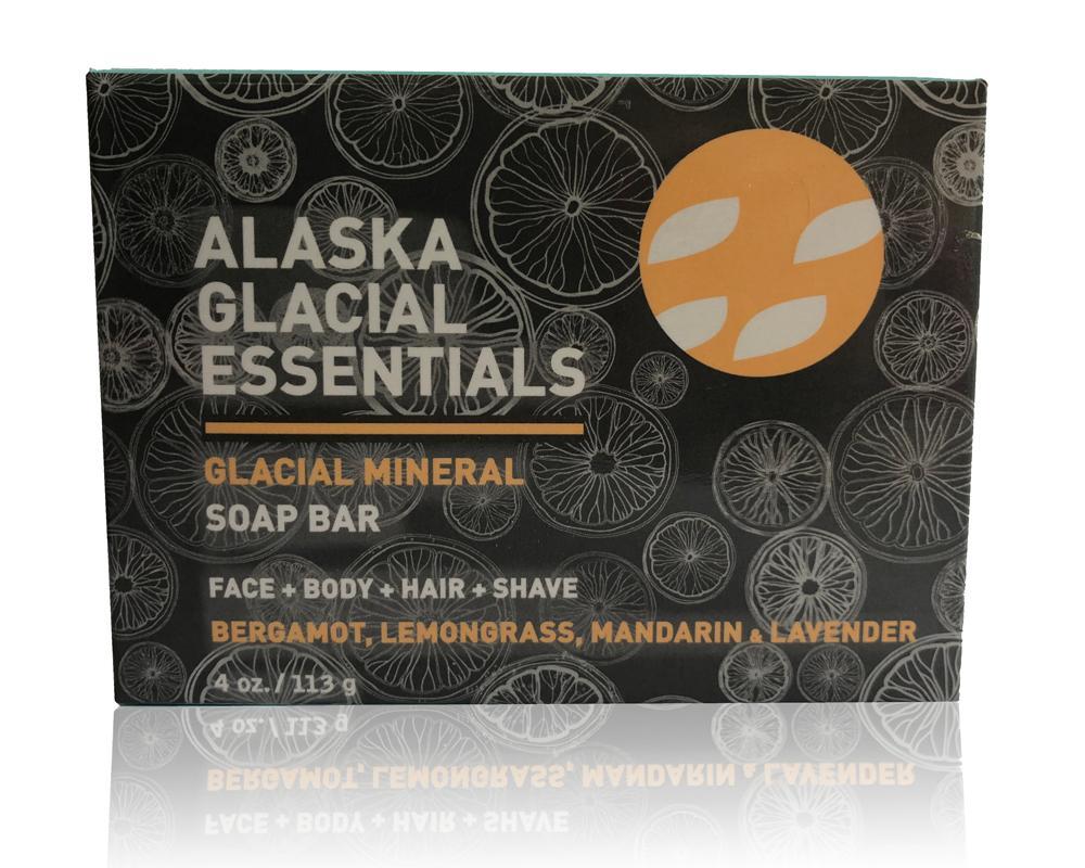 Glacial Mineral Soap Bar - BERGAMOT-MANDARIN-LEMONGRASS-LAVENDER - 2 pack bundle set