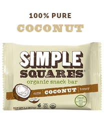 Coconut SIMPLE Squares - Organic Nutrition Bar - Box of 12 bars