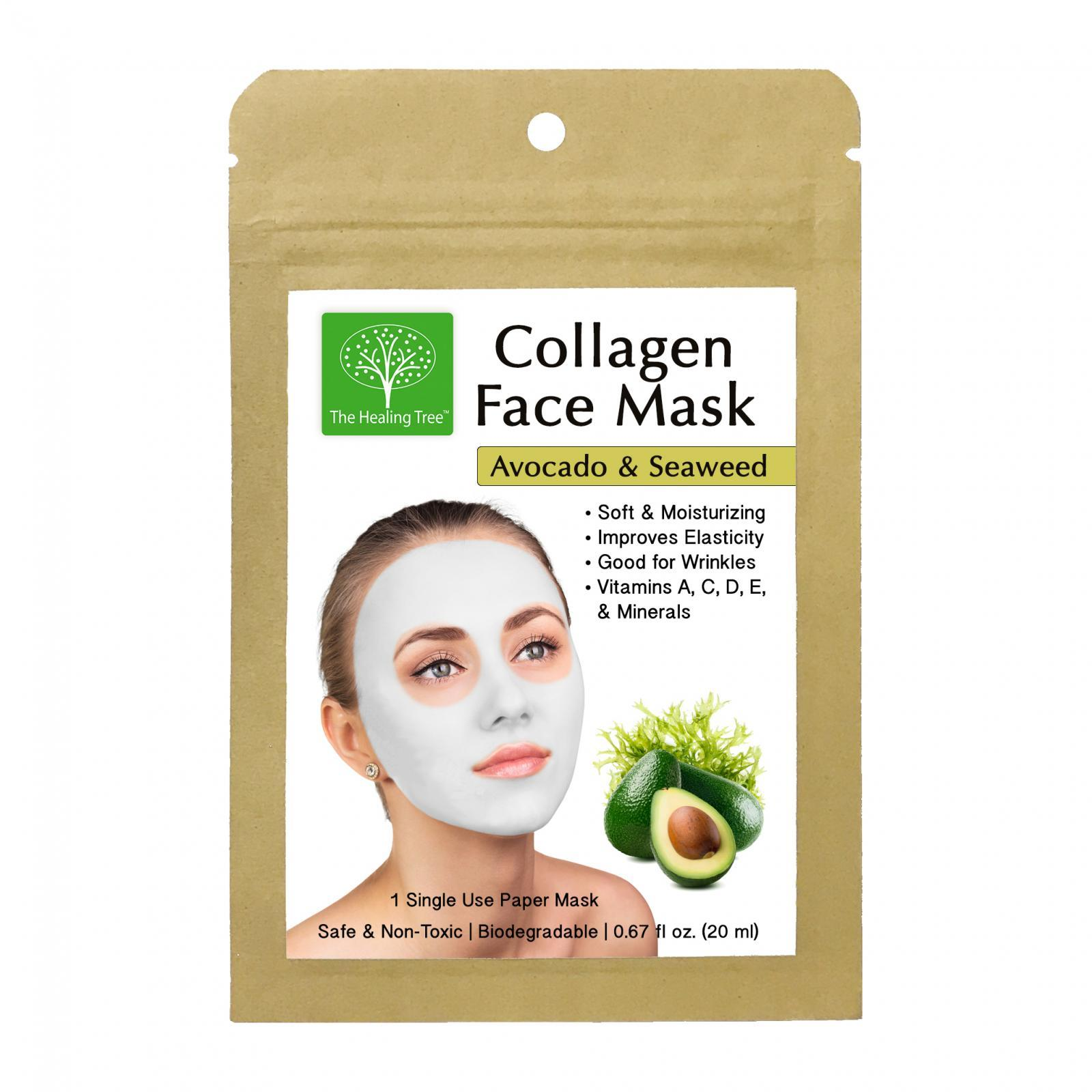 Avocado & Seaweed Collagen Face Mask for Wrinkles (Single, 3-Pack, 6-Pack)