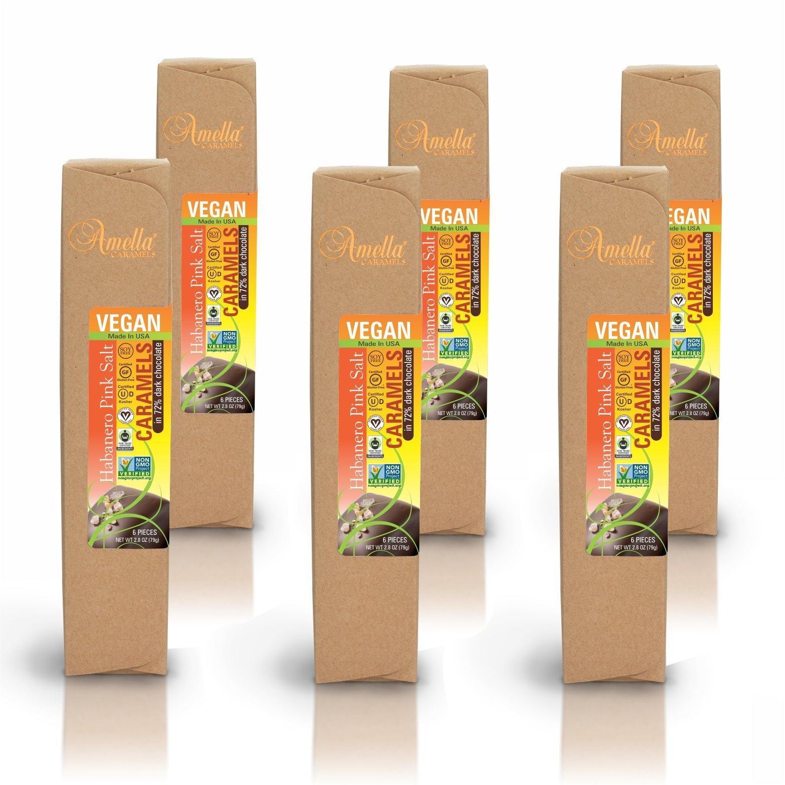 Vegan Habanero Pink Salt Caramels in 72% Dark Chocolate, 16.8 ounces (6 packs - 6 pcs/pack)
