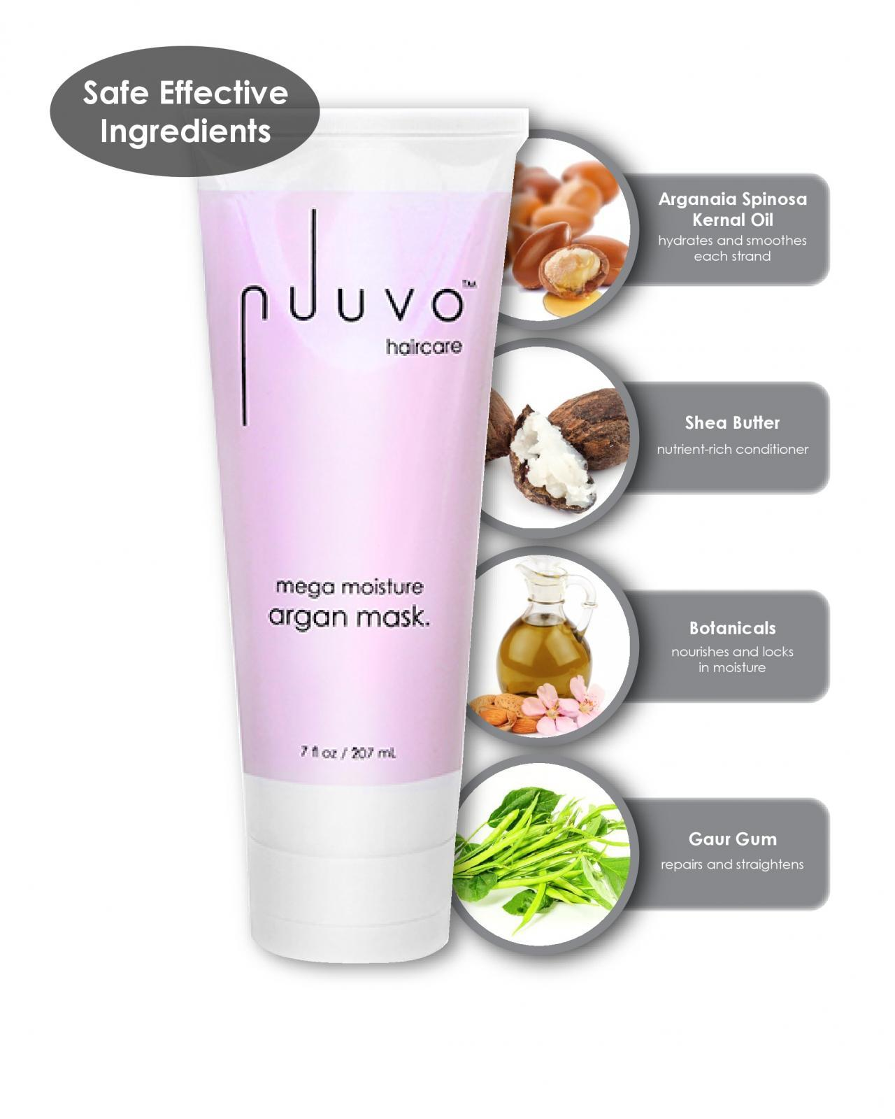 Nuuvo Haircare Salon Professional Mega Moisture Argan Mask - Deep Conditioning Therapy for Damaged, Color-Treated or Frizzy Hair