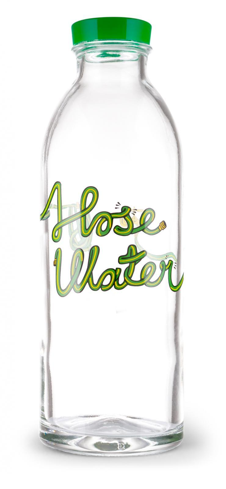 Hose Water Reusable Glass Water Bottle By Faucet Face, 14.4 oz