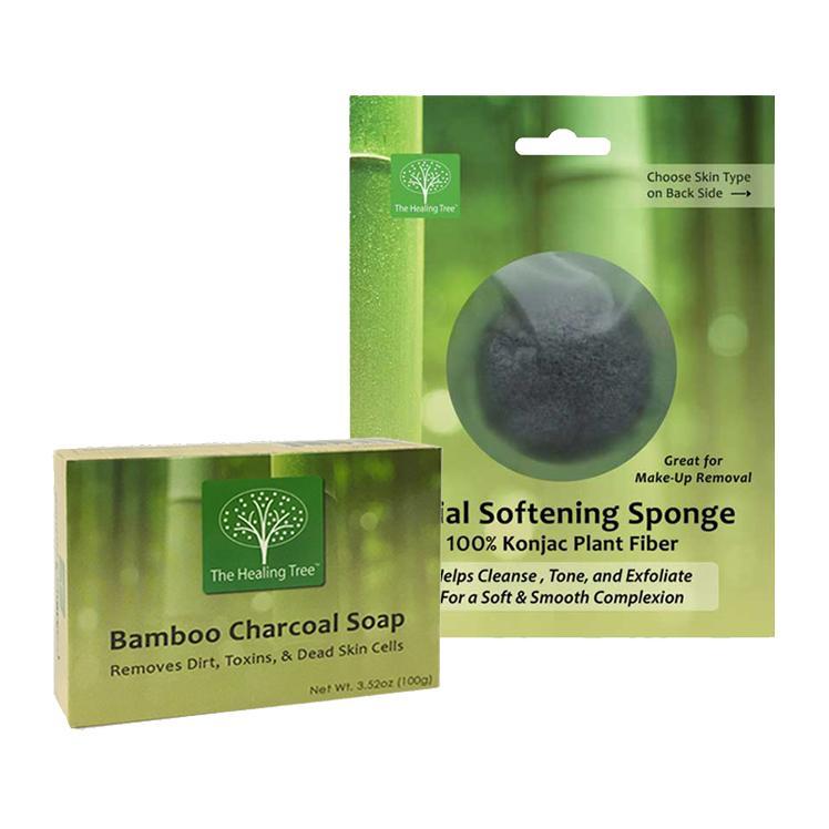 Bamboo Charcoal Soap + Bamboo Charcoal Konjac Facial Sponge | COMBO PACK