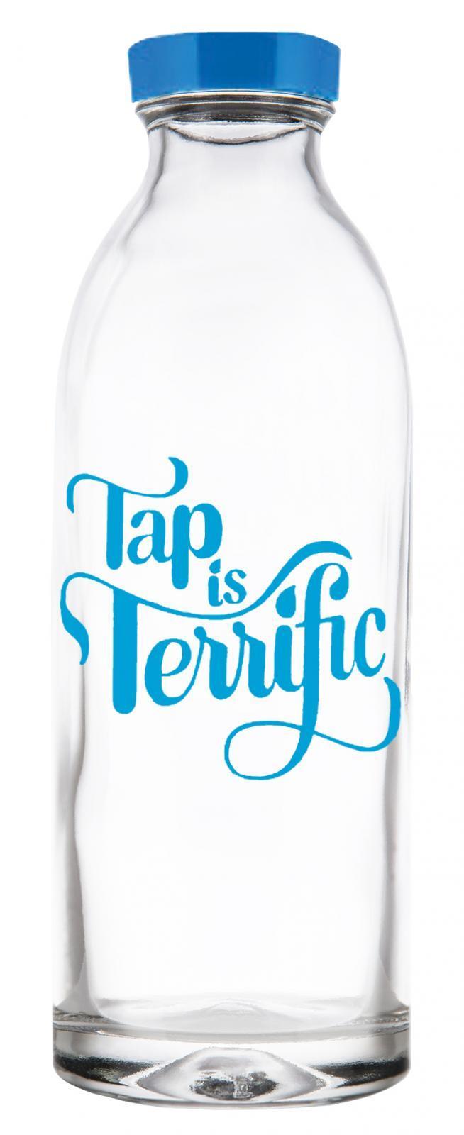 Tap Is Terrific Reusable Glass Water Bottle By Faucet Face, 14.4 oz