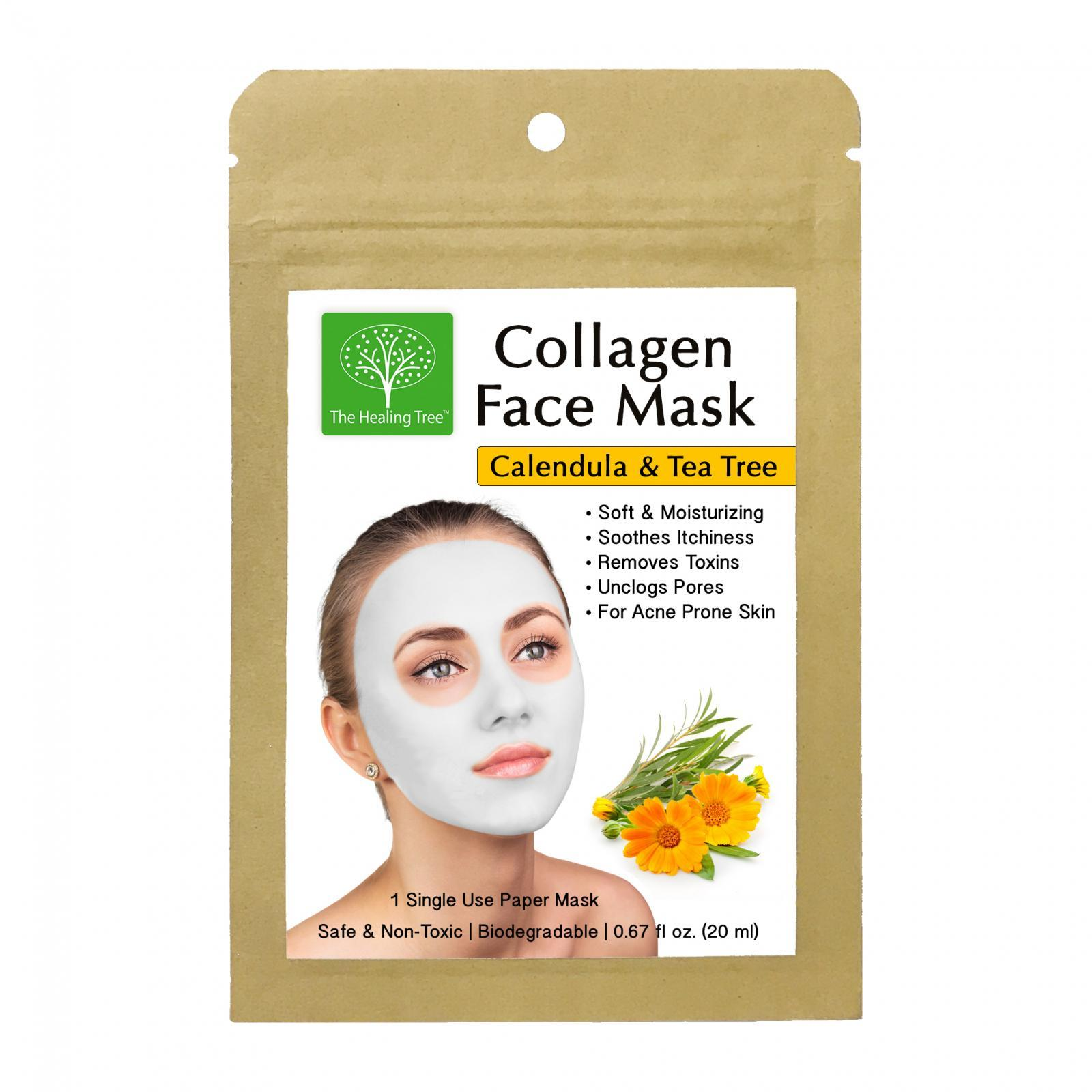 Calendula Collagen Face Mask for Acne Prone Skin (Single, 3-Pack, 6-Pack)
