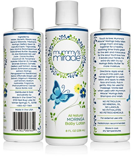 All Natural Mummy's Miracle Moringa Lotion for babies, infants and toddlers