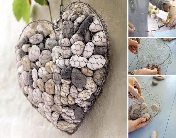 A neat idea using chicken wire and pebbles. Hang inside or out!