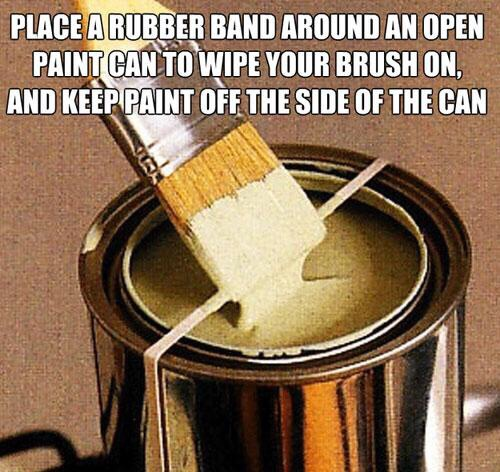 Place a rubber band around your paint can so you don't end up dripping it everywhere!