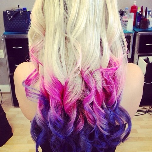 Blonde pink purple