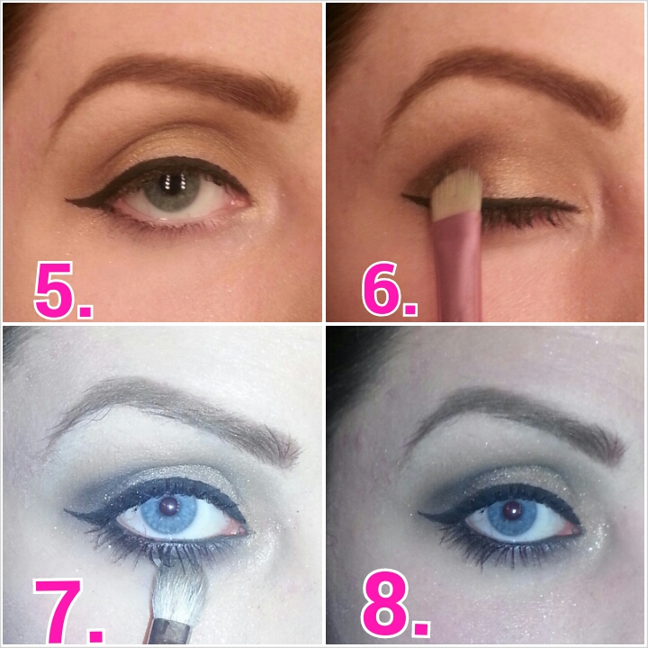 5.add winged liner.  6.using the end of the winged liner as a guide, add the black shadow to your outer V.blend out.  7.add black liner to waterline.using blending brush, blend the black shadow under lower lash line for a smokey look.  8.Apply 2 coats of your Smashbox Full Exposure mascara.