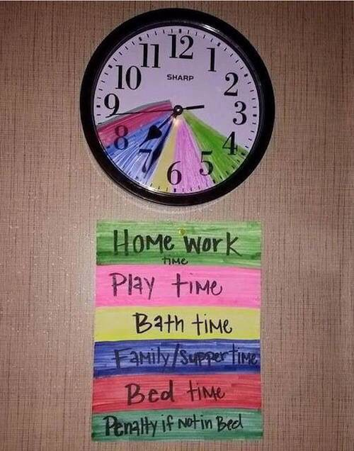 Small kids usually can't tell time. So it's easier to colour code the clock according to their schedule. This will help them to manage their time efficiently instead of parents telling them what to do at what time. It sure helps. 😊