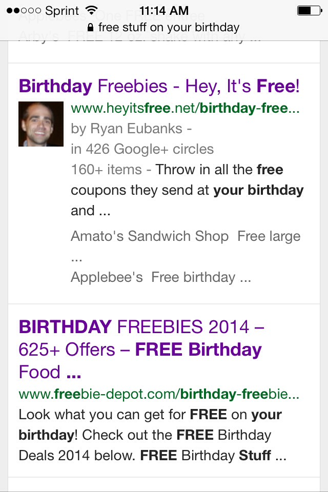 Places that offer free stuff on your birthday : National