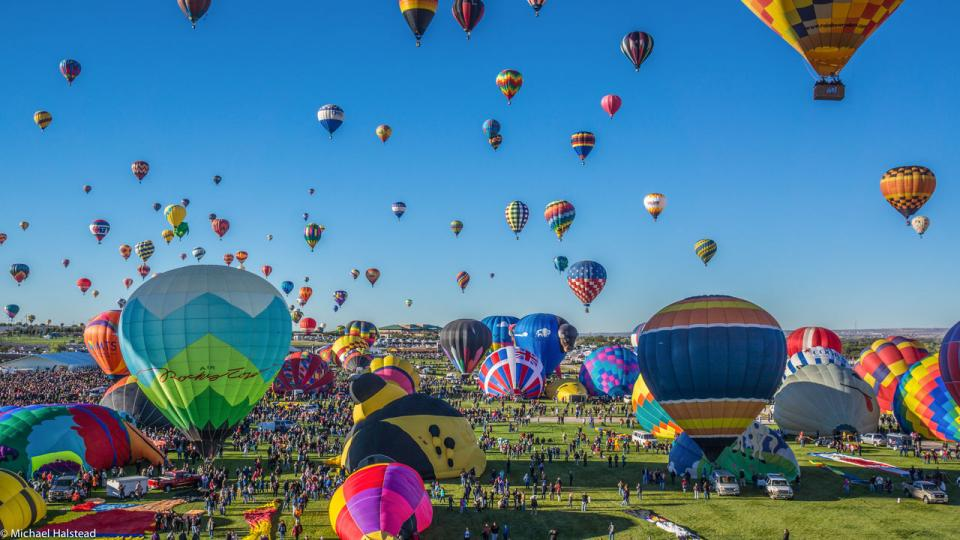 Albuquerque—the Albuquerque International Balloon Fiesta takes place annually during early October. The nine-day event is the largest hot-air balloon festival in the world, hosting around 750 balloons.