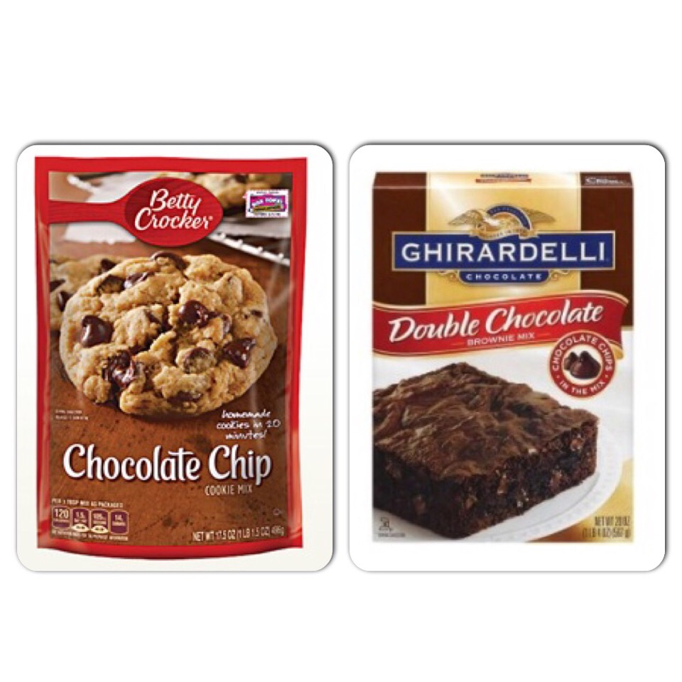 you can use any cookie/brownie mix or homemade. I made mines using these mixes.