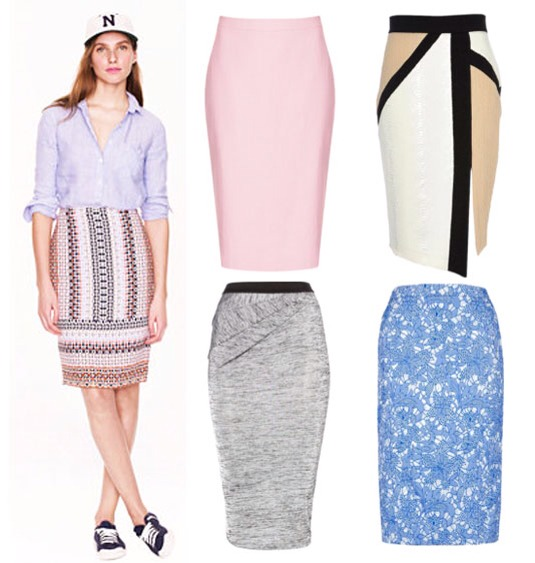 Clockwise from left: Multicolored Pencil Skirt, J.CREW, $118; Pink Pencil Skirt, TOPSHOP, $84; White, Beige, and Black Colorblock Skirt, RIVER ISLAND, $60; Blue Lace Skirt, NEW LOOK, $33; Gray Skirt, LABEL LAB, $45