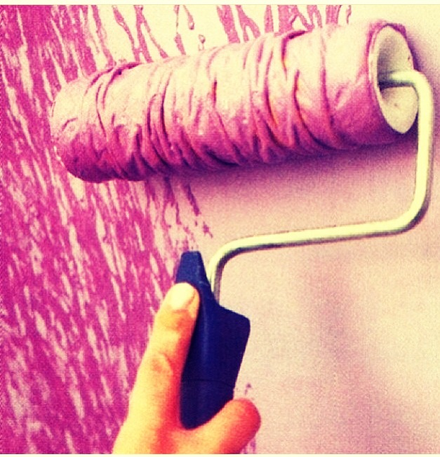 All you have to do is first rap some yarn around the paint roller and dip it in the color you decided on!