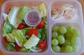 salad, Italian vingerette, leftover rotiseeer chicken, grapes