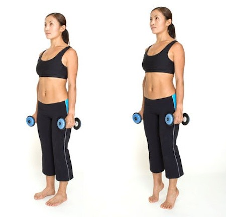 7. Calf Raise 3 Ways This exercise targets the calves. •Stand with feetshoulder width apart. Holding a dumbbell in each hand. •1st: Turn toes inward. Lift heels high, then lower them slightly below level of step. Do 15 to 20 reps. •2nd:Turn toes out 45 degrees; repeat. •3rd: With toes forward, stand on left leg only, bending right leg behind you; repeat lifts. Do 15 to 20 reps. Switch legs and repeat. •Do 2 to 3 sets of entire 3 series.