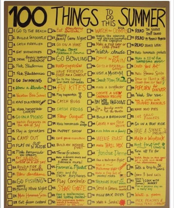 Summer checklist.