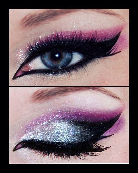 Purple glitter cat eye makeup