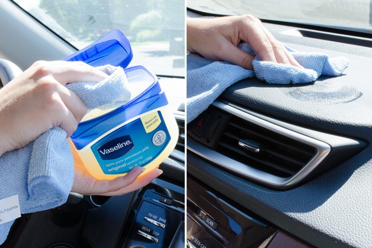 14. Condition your dashboard with Vaseline. First, wipe away dust with water and a clean rag. Then rub a bit of Vaseline into the dash. You may need to wipe away any excess Vaseline with a clean cloth.
