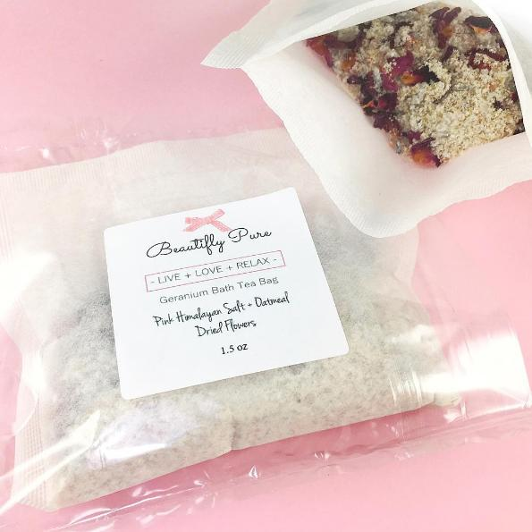 Knowing the amazing benefits, we have created a Bath Tea Bag filled with amazing ingredients such as: Pink Himalayan Salt, Ground Oatmeal, Dead Sea Salt, Rose Buds, Lavender Buds, and Geranium Essential Oil.