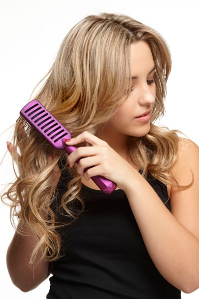5. Brush your hair  Brushing yourhair once or twice in the morning and once or twice at night will stimulate the circulation in your scalp, feeding the hair follicles and ensuring undisturbed hair growth.However, when your hair is wet, never brush it.That causes severe breakage; use a comb instead