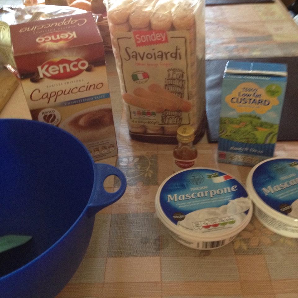 Will need Cappuccino, sponge fingers, mascarpone cheese, rum Essenes and custard