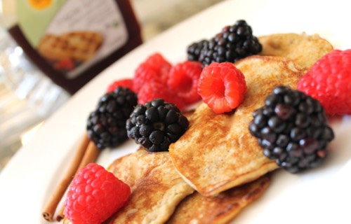 Try these 2 ingredient pancakes! All you need is 2 eggs and a banana mashed together well and thrown in the pan, and you have healthy, quick and yummy pancakes. Add butter (not margarine) and your choice of berry, or bananas or apples.