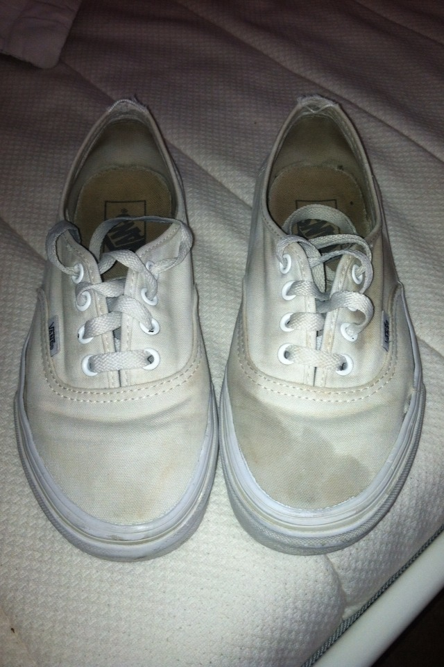 """These are my two year old """"white"""" vans before cleaning them."""