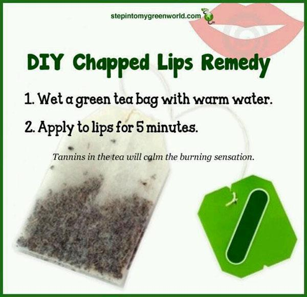 6. A green tea bag on your lips is a great natural remedy for chapped lips.