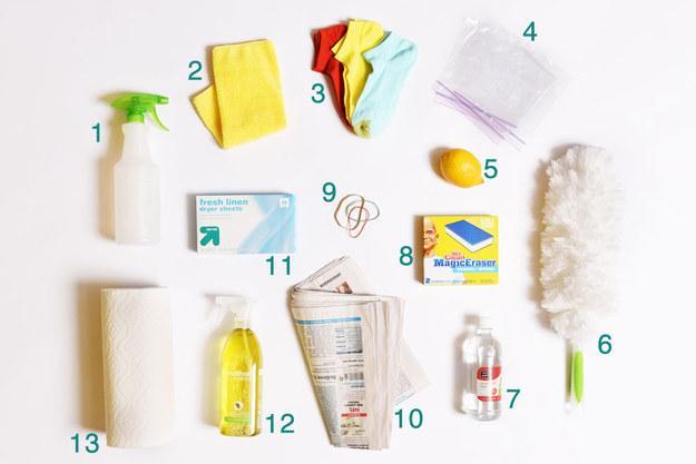 12. Antibacterial all-purpose cleaner (APC) 13. Paper towels  PLUS: Vacuum  Toilet paper