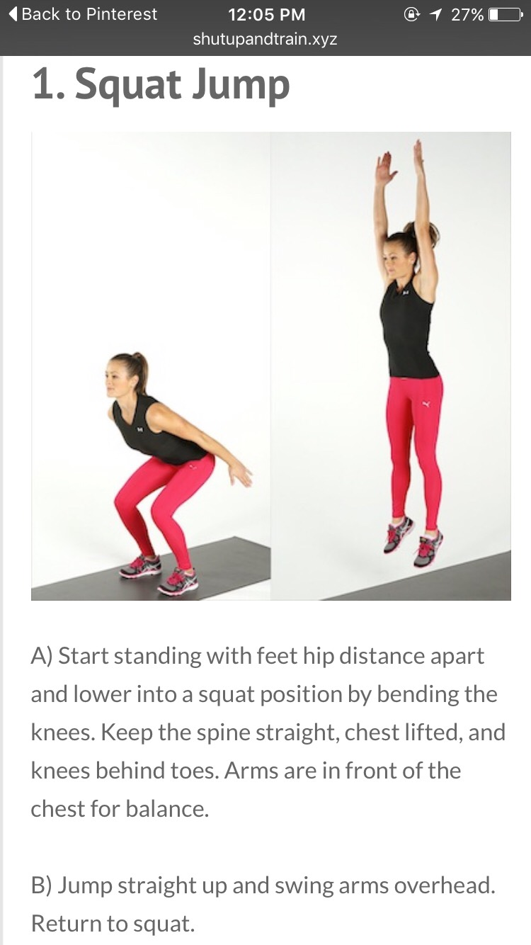 Jump squat for 20, then immediately hold a squat for 10 seconds. Repeat for 8 total cycles