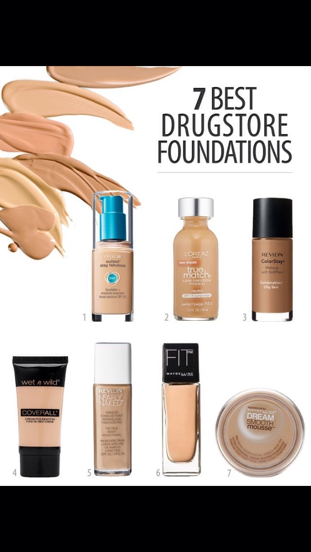 1. cover girl outlast stay fabulous $9.49  2. l'oreal Paris true match blendable foundation  $8.85 3. revlon color stay $8.49 4. wet n wild coverall cream foundation $2.99 5. revlon nearly naked $7.99 6. maybelline fit me (matte+pore less) $6.79 7. maybelline dream smooth mousse $5.93