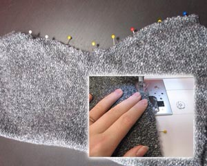 Sew the cut edges be sure to turn sweater inside out prior to sewing.....