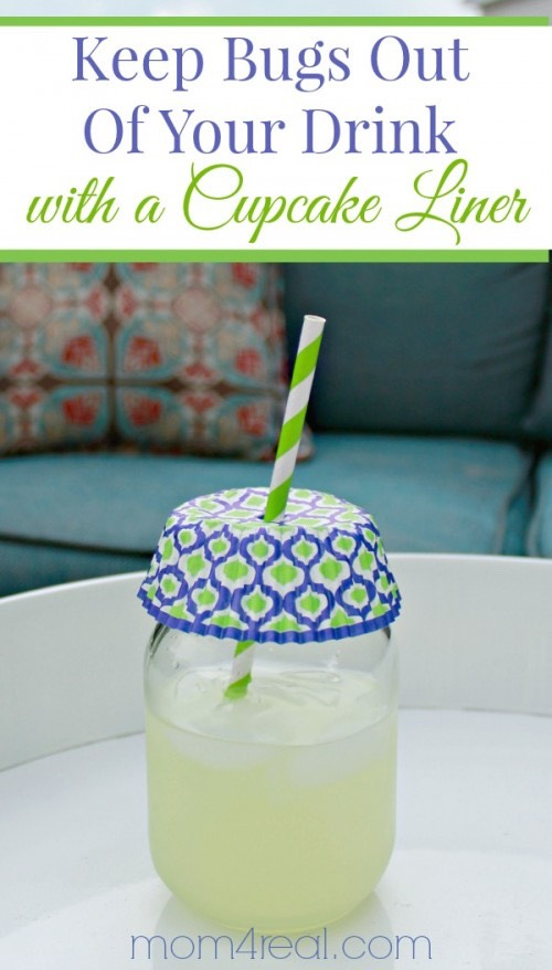 Keep the summer bugs out of your drink with a cupcake liner. No more drinking that extra protein!